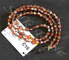 Neck Lanyard - Chocolate Brown Crystal Beads with Bronze Decorative Beads