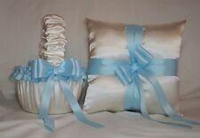 IVORY CREAM SATIN / LIGHT BLUE TRIM FLOWER GIRL BASKET & RING BEARER PILLOW
