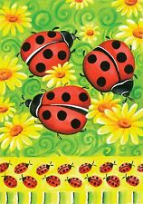 New Large Toland Ladybug House Flag Ladybugs & Daisies On Green 28 X 40