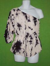 Rebecca Taylor size 6 blouse top silk one shoulder beige black