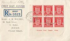 JERSEY : 1941  Registered FDC   -corner block of six 1d scarlet definitives