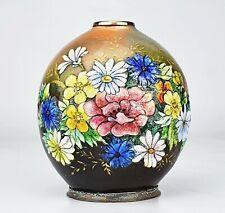 """Camille Fauré Limoges Rare Vase """"Fleurs des Champs"""" Modèle """"Jack"""" Emaux Art Déco"""