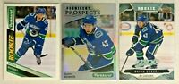 Quinn Hughes 3 Card Lot Parkhurst Rookie Upper Deck MVP Rookie Canucks
