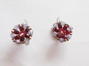 VINTAGE 80'S BURGUNDY RED & PLUM PURPLE GLASS BEADED CLUSTER PIERCED EARRINGS