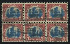 US 573, USED VF LH/NH Center Line Block of 6 - SCARCE
