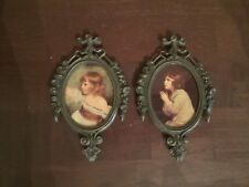 Vintage Ornate Small Picture Frames with Prints of Children Made In Italy A Pair