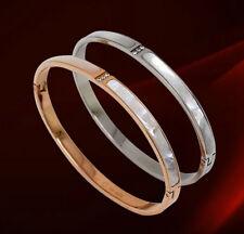 NEW 18K White / Rose Gold Filled Solid Women's Mother of Pearl Bangle Bracelet