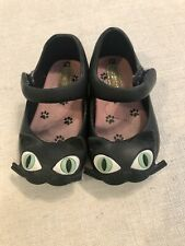 Mini Melissa Girls Black Cat Kitty Mary Jane Shoes Toddler Size 5 Preowned