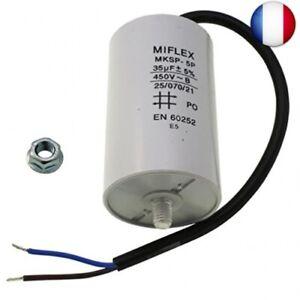 Condensateur de Moteur 35 μF 450 V 50 x 83 mm Filetage M8 ; Miflex ; 35uF