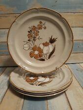 "4 Vtg Baroque Hearthside Stoneware 10.5"" Autumn Fair Dinner Plates Japan speckle"