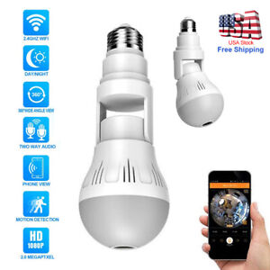 Light Bulb WiFi Home Monitor Surveillance Camera for Baby Elder Nanny Wireless