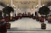 San Diego CA~Golden West Hotel~Main Lobby~Rocking Chairs~Norris & Moore~1914 PC