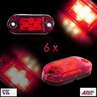 6x 24v 4SMD LED Intermitente Lateral Rojo Luces Lámparas Remolque Caravana