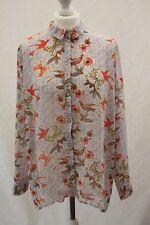 ATMOSPHERE, Ladies Floral Bird Print Dip Hem Blouse, Size 14