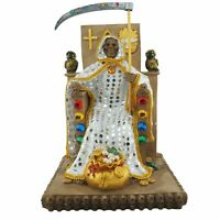 "12"" White Santa Muerte Statue Holy Death Grim Reaper Owl on Throne"