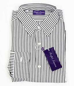 Ralph Lauren Purple Label Italy Mens Cotton Casual Button Striped Dress Shirt