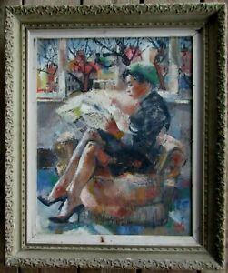 Woman Reading Newspaper Illegibly Signed Old Modernist Oil Painting NO RESERVE