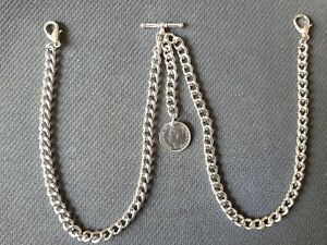 Silver Colour Double Albert Pocket Watch Chain and Lucky George VI Sixpence Fob