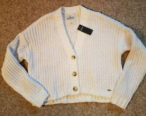 Hollister White Chunky Cable Knit Button Cropped Sweater NWT