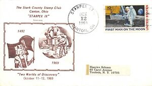"""APOLLO 11 STARPEX, CANTON, OH """"TWO WORLDS OF DISCOVERY"""" CACHET 10c STAMP SC# C76"""