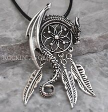 Antique Silver Plt Dragon Dreamcatcher Pendant Necklace Viking Norse Gift