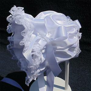 New Handmade White Satin with White Lace and Trim Baby Bonnet - Elegant