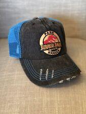 79325870388 Jurassic Park Ranger Hat Blue Claw Trucker Embroidered Patch Cap Dinosaur  Movie