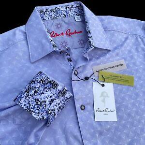 Robert Graham Geometric Tonal Print Egyptian Cotton Sports Shirts Purple Medium