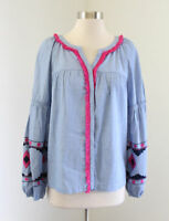 NWT Crown & Ivy Blue Chambray Fringe Embroidered Top Blouse Size M Pink Boho