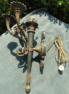 Antique Heavy Bronze Iron Wall Sconce Electric Rare