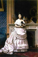 Oil painting young noble lady holding her pet black little dog Hand painted art