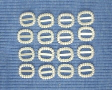 16 tiny Plastic buckles, doll sewing clothes belts crafts. 'SMALL IVORY'