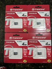 Lot of (4) Brand New Transcend 4GB Micro SD SDHC Memory Cards