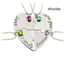 4Pcs/Set Best Friends Forever Heart Friendship Pendant Choker Necklace Chain