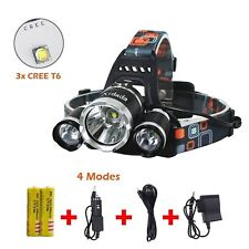 Rechargeable Flashlight Headlamp KIT Camping Hard Head Hat Light Waterproof