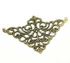 100 Pcs Bronze Tone Filigree Triangle Wraps Connector Jewelry Findings 50x32mm