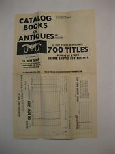 Ox Bow Shop Advertisement Titled CATALOG BOOKS ON ANTIQUES Harrisburg, PA.