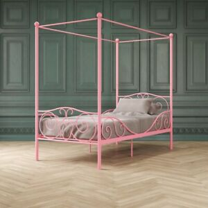 DHP Canopy Metal Bed, Twin Size Frame, Pink
