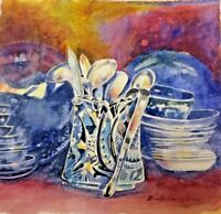 "Original watercolor painting by Zina Andresini Poliszuk ""Spoon Collection""-2016"