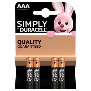 AAA Duracell Alkaline Battery 4 Pack Bateries