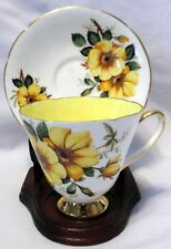 Old Royal Bone China England Yellow w/Large Flowers Tea Cup & Saucer