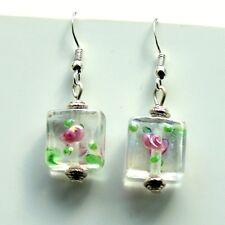 Glass Flower Bead Earrings Sterling Silver Hooks New Drop Dangle LB135
