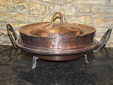 antique french copper tourtiere pie bake pan roast 1800c with stand
