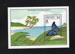 Grenada 1986 Giant Hairstreak Blue Butterfly  Minisheet MNH  Sc 1818 SG MS2099a