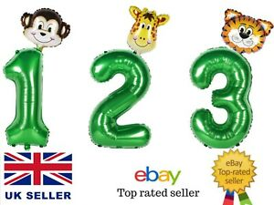 """JUNGLE ANIMAL Number Balloons Giant 30"""" Foil Number Balloon Kids Birthday Party"""