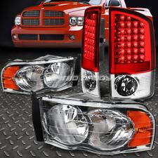 CHROME HEADLIGHT+AMBER CORNER+RED LED BRAKE REAR TAIL LIGHT FOR 02-05 DODGE RAM