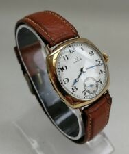 Vtg 1933 Omega Art Deco Gents 9ct Solid Gold Swiss Cushion Wrist Watch Working
