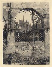 Cathédrale d'Amiens pendant la Seconde Guerre mondiale Vintage argentique