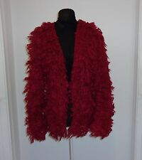RED LOOP WOOL VINTAGE WOMEN'S  LONG SLEEVE COLLARLESS SHAWL SWEATER SIZE M-L