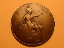 1912 NICE LARGE ONE PENNY GREAT BRITAIN COPPER MINTAGE 48,306,000!!